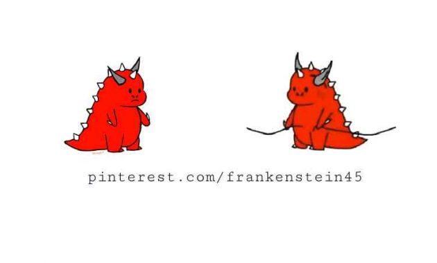 dino merah pinterest