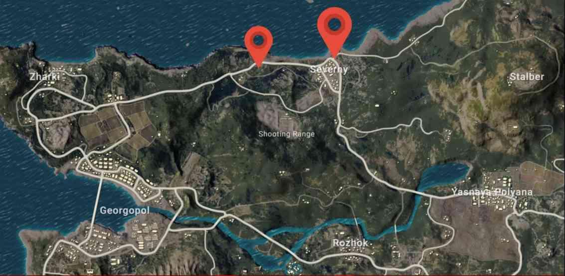 lokasi glider pubg map erangel